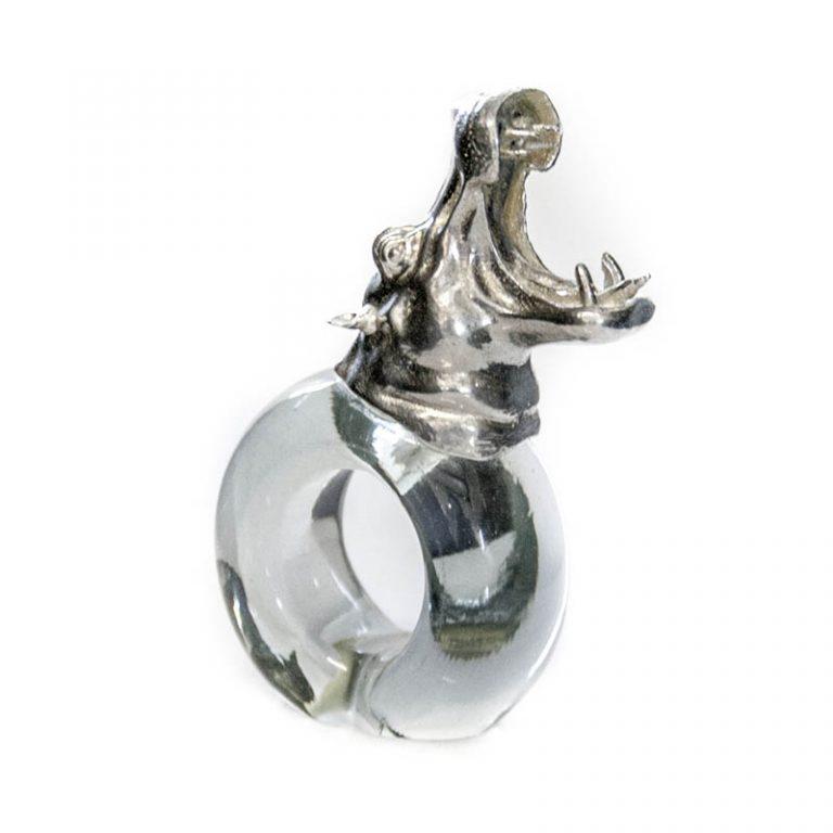 Mini Pewter Hippo Napkin Ring