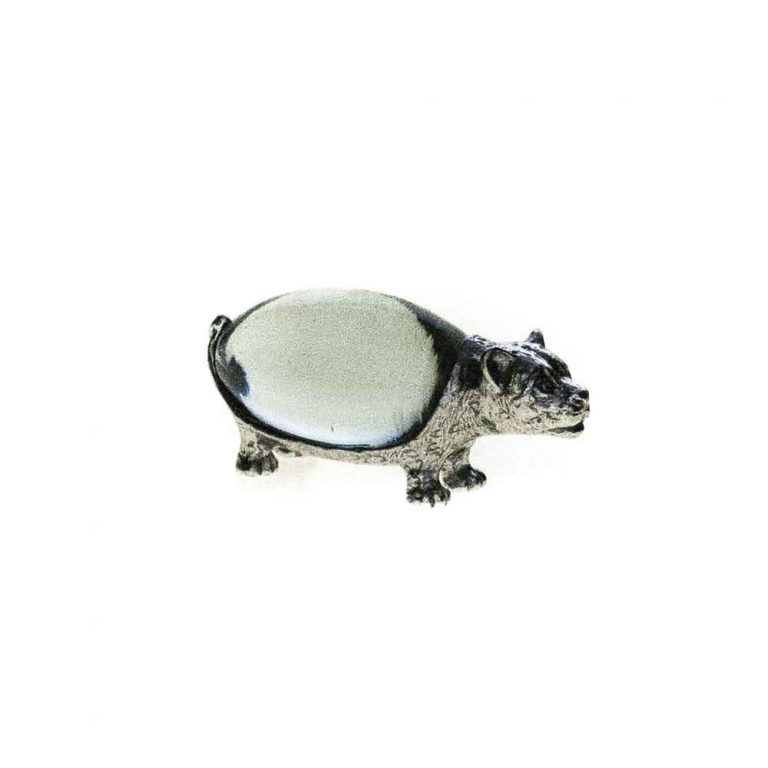 Small Oval Leopard Pewter body