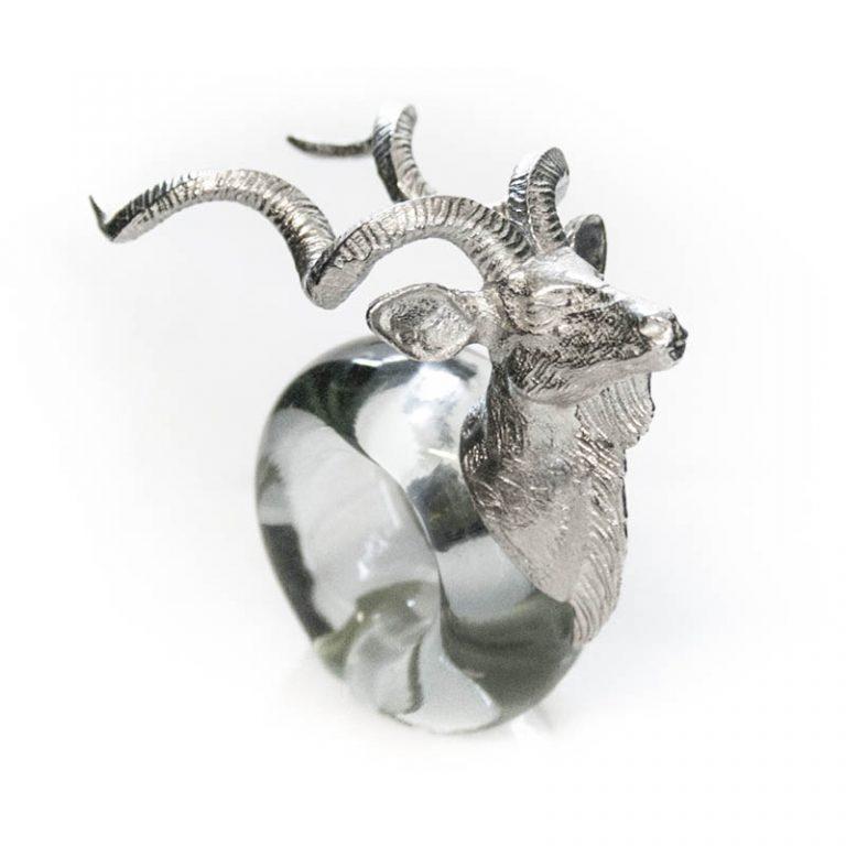 Mini Kudu Napkin ring Pewter