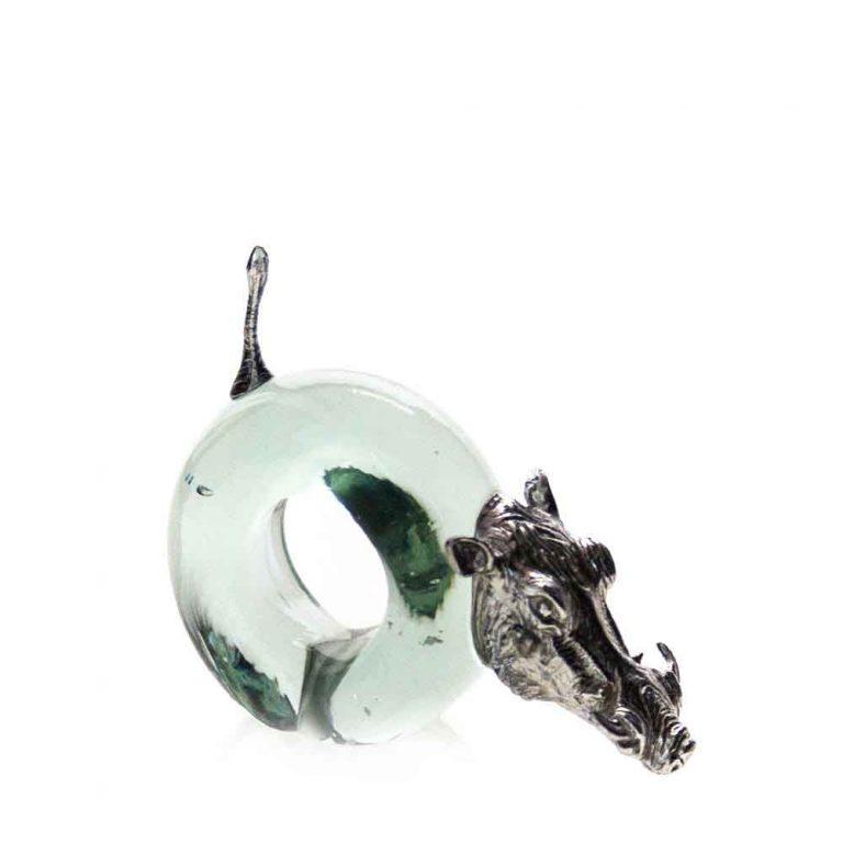 Mini Warthog Napkin ring Pewter