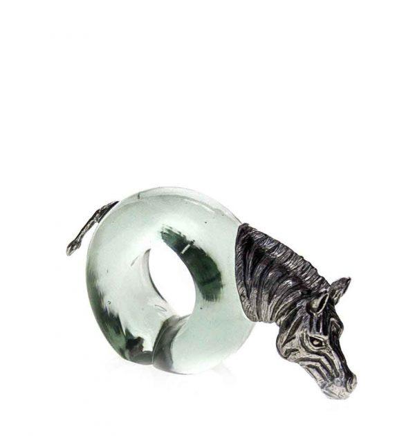 Mini Zebra Napkin ring Pewter