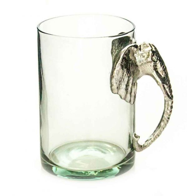 Large Beermug Elephant Pewter Handle