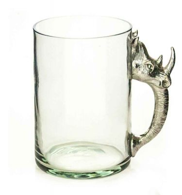 Large Beermug Rhino Pewter Handle