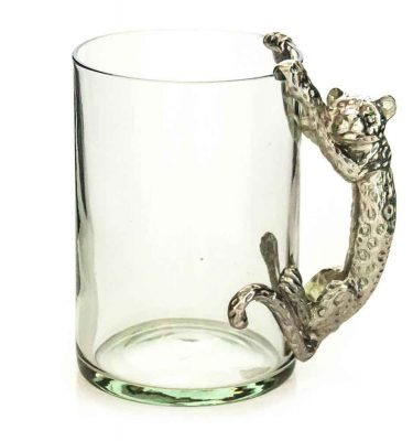 Large Beermug Leopard Pewter Handle