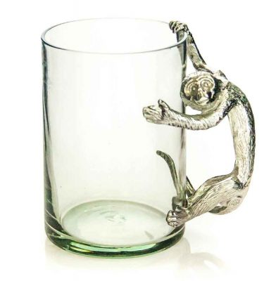 Large Beermug Monkey Pewter Handle