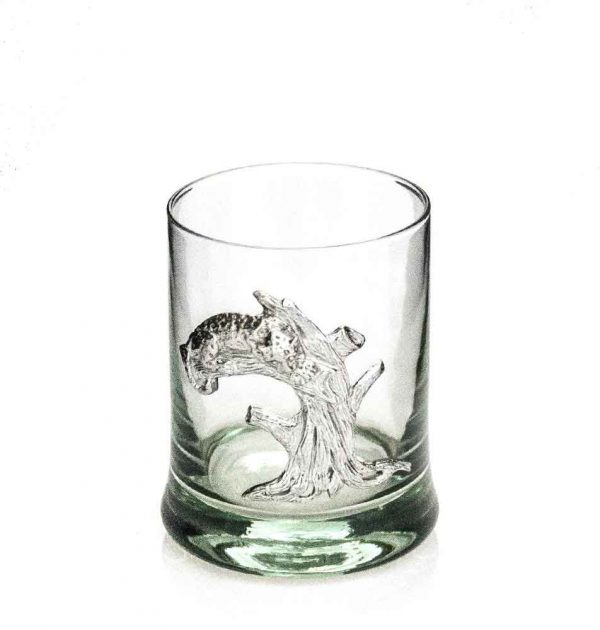 Whiskey Tumbler Pewter Leopard