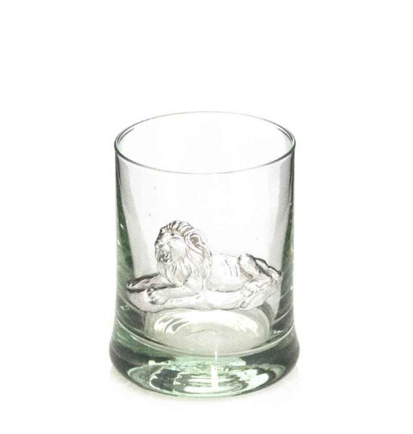 Whiskey Tumbler Pewter Lion