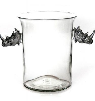 Ice Bucket with Pewter Rhino Heads
