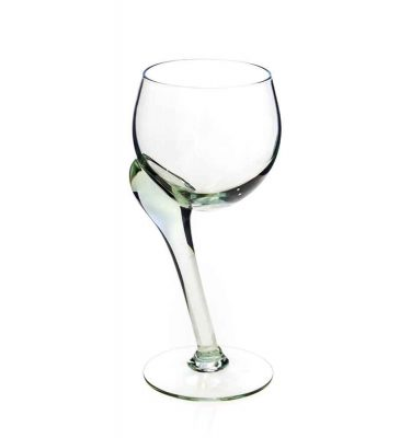 Crooked white wine glass